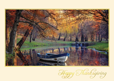 Rowboat on Autumn Lake Thanksgiving Holiday Cards