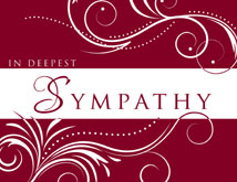 Scrolling Design on Burgundy Sympathy Card